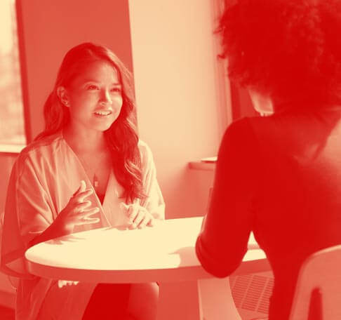 two women meeting